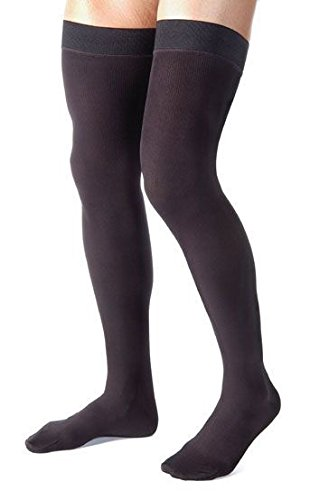 Made in USA - Compression Stockings for Men - Absolute Support Graduated Medical Compression Socks 20-30 mmHg - Thigh High with Grip Top Closed Toe- Ribbed Opaque Black, Size Medium- A2017BL2