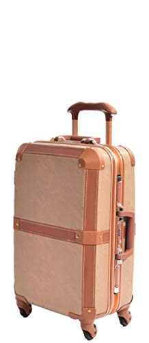 Classic Hard Shell Suitcase Vintage Style Retro Design Old Fashioned Trunk HOL603 Brown (Cabin(Small) | 55x36x21cm, 3.4kg, 38 litres)