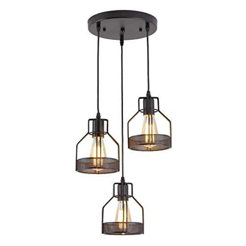 XUENUO kroonluchter zwart metaal hanglamp industriële vintage, hanger lamp verstelbare hoogte E27 schroef zonder lichtbron voor bar keuken eetkamer restaurants 3 lampen