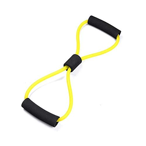 Mdsfe Weerstandsbanden voor yoga, fitness, weerstand, 8 Word borst expander, touw, workout, muscle, fitness, elastieken voor training, zwart en geel, A1