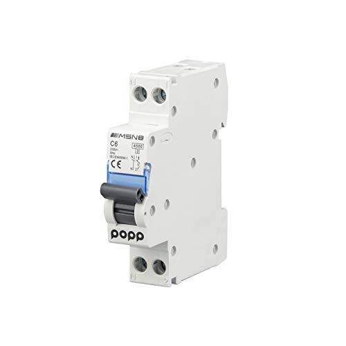 POPP Interruptor Automático Magnetotérmico industrial CURVA C DPN SERIE MSN81NC C6 6A 10A 16A 20A 25A 32A 40A (DPN, C6)