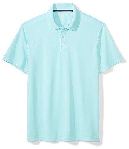Amazon Essentials Men's Slim-Fit Quick-Dry Golf Polo Shirt, Aqua, Medium