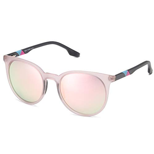 SOJOS Polarized Round Sports Sunglasses for Women Ultralight Oversized TR90 Frame SJ2092 with Matte Greyish Pink Frame/Pink Mirrored Lens