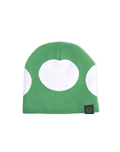 Meroncourt Nintendo Super Mario Bros. Green Mushroom Cuffless Beanie Bonnet, Vert, Taille Unique Mixte