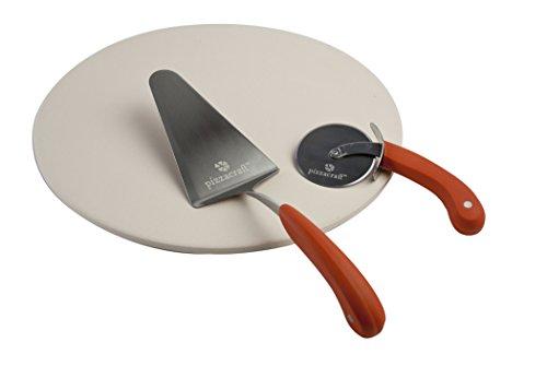 Pizzacraft Pierre à Pizza Ronde Roulette et spatule (3 pièces), Rouge, 8,26x41,02x41,02 cm