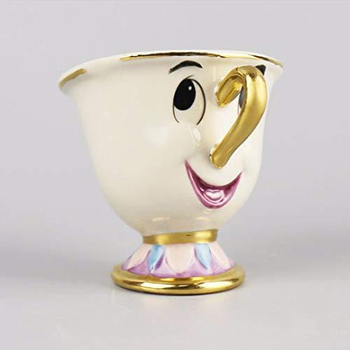 yui Taza de té con diseño de dibujos animados de belleza y la bestia de la señora Potts Chip Tea Pot Cup One Set Nice Christmas grande taza de té (color 1taza)
