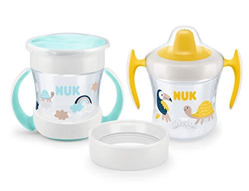 NUK 10255503 Mini Cups 3in1, Trinklern-Set ab 6 Monate, mit verschiedenen Trinkaufsätzen, 160ml, auslaufsicher, BPA frei, mehrfarbig, 279 g