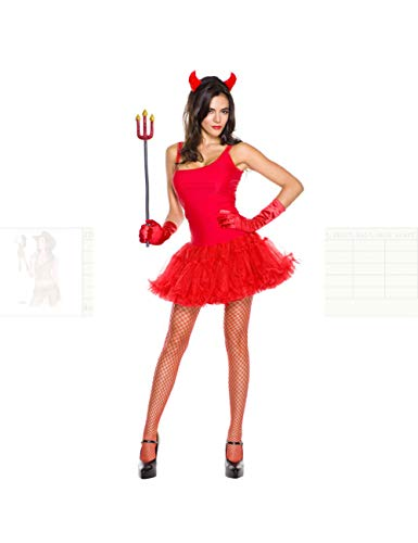 Demon Women Cosplay Red Devil Headwear + Dress + Gloves + Fork Set Cosplay Disfraz de Halloween para Mujeres Decoraciones