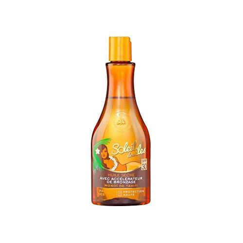 Soleil des Iles Huile sèche avec accélérateur de bronzage, SPF30 parfum des iles - Le flacon de 150ml