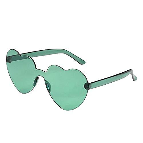Xniral Herz Shaped Sonnenbrille Frauen PC Frame Harz Linse Sonnenbrille UV400 Sonnenbrille(Armeegrün)