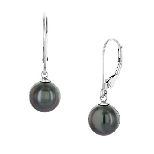 14K Gold Round Tahitian South Sea High Luster Cultured Pearl Leverback Earrings - AAAA Quality