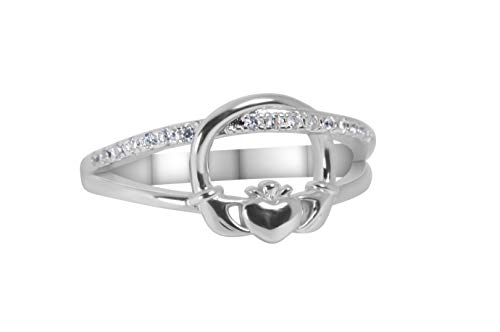 Claddagh Ring | .925 Sterling Silver | Cubic Zirconia | Irish Jewelry | Gift for Her, Anniversary, Birthday, Engagement, Bridal | Ireland | Celtic (7)