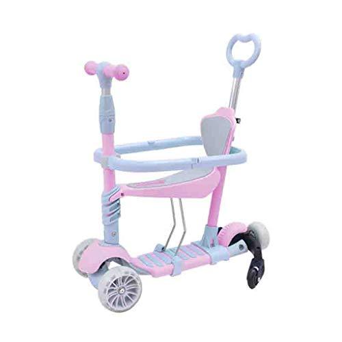 WJJ Patinetes para Niños Niños Scooter Tabla de flotación Triciclo 3en1 5 etapas Ajustable 2-10 años de Edad, Regalo Brillante Ruedas for los niños Lactantes (Color : Pink)