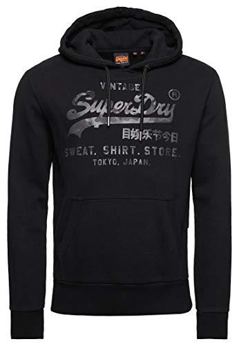 Superdry Herren VL Shirt Shop Bonded Hood Kapuzenpullover, Schwarz (Black 02A), Small