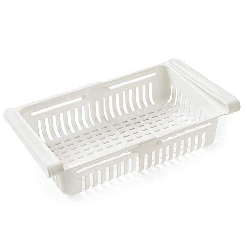 Contenedores de almacenamiento para armarios de cocina, contenedor de almacenamiento, organizador de refrigerador, plástico ajustable, cestas de almacenamiento para nevera (1 unidad), color blanco