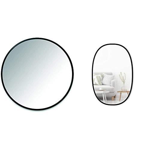 Umbra 1008243-040 Hub Wall Mirror with Rubber Frame - 24-Inch Round Wall Mirror, Doubles as Modern Wall Art, Black & Hub Oval Wall Mirror, 24 x 36-Inch, Black