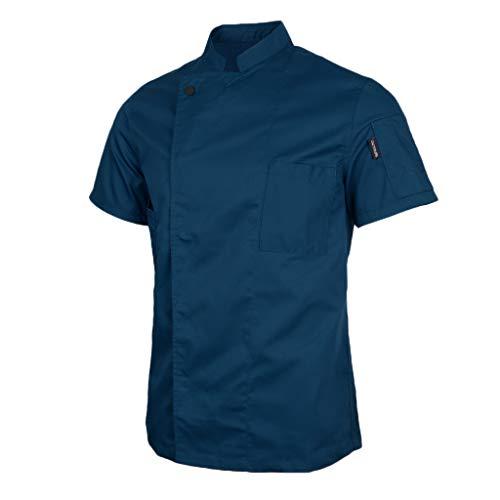 Baoblaze Chaqueta Unisex Mangas Cortas Chef Camarero Escudo Cocineros Ropa Uniforme - Azul, 2XL