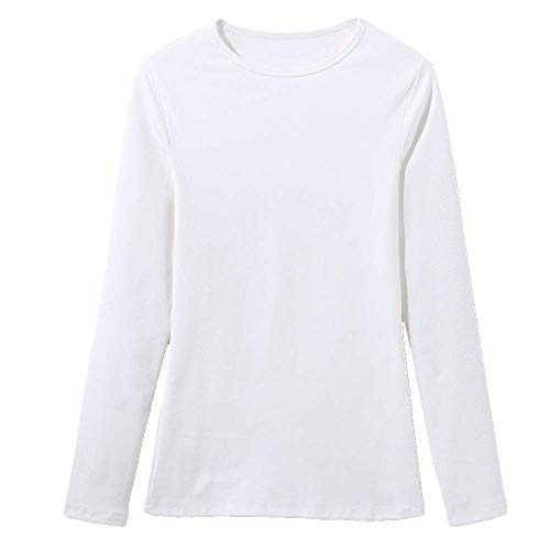 NOBRAND - Camiseta de manga larga con cuello redondo y manga larga para mujer
