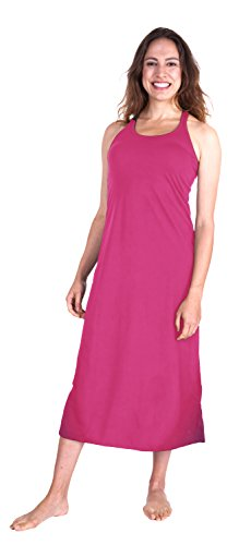 Cool-jams Moisture Wicking Long Racerback Tank Nightgown with Shelf Bra (Large, Pink-Rose)