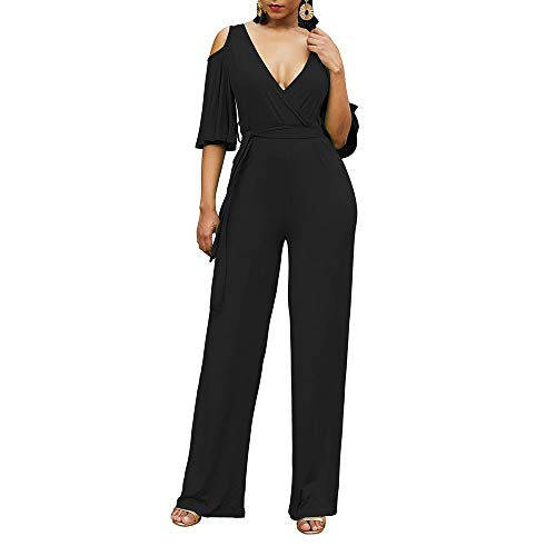 Vrouwen zomerkleding Horn mouwen Sexy Strapless Lace Jumpsuit Sportieve Broeken Top V-hals Oversized (Color : Black, Size : M)