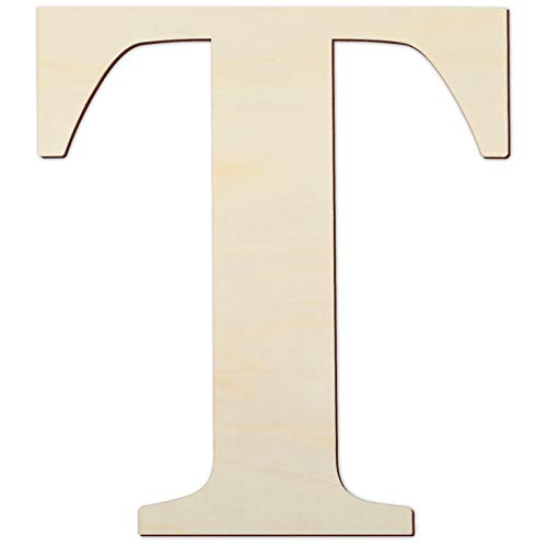 12 Inch Unfinished Wooden Letters Wood Letters Sign Decoration Wooden Decoration for Painting, Craft and Home Wall Decoration (Letter T)