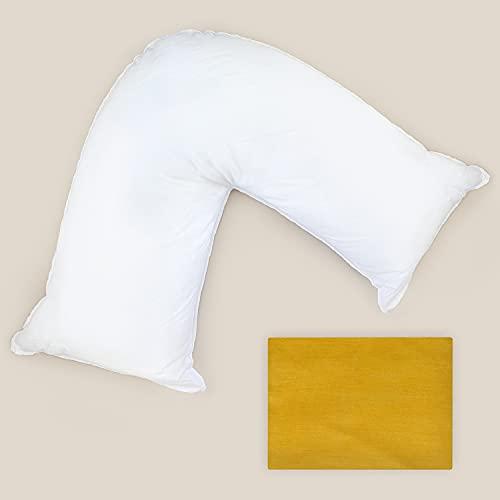 Grace Home Almohada de apoyo en forma de V con funda de almohada, color gris, relleno de fibra hueca, ortopédica, embarazo, lactancia, espalda, cuello, hombros, piernas en forma de V