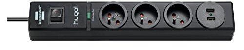 Brennenstuhl 1150611503Hugo Steckdosenleiste 3-fach/2Steckdosen USB mit Überspannungsschutz Kabel 2m, 230V, Schwarz