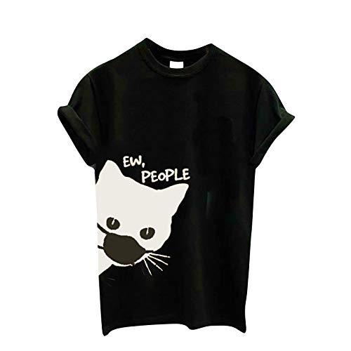 BOIYI Camiseta Manga Corta Mujer Jersey con Estampado Animal de Gato para Mujer Camisa Casual Moda Camiseta Mujer Verano Sudaderas Mujer sin Capucha Tops Camisas Blusa