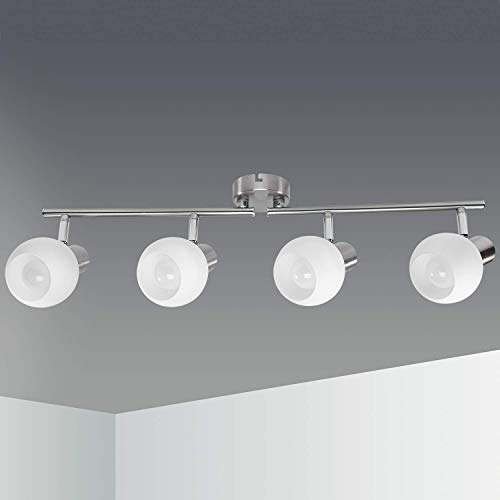 Kimjo Faretti LED da Soffitto con 4 Luci E14 5W Bianco Caldo 3000K Pari a 45W, Lampada da Salotto Orientabili 500LM 220V, Lampadario Moderno Plafoniera Camera Lampadario Cucina Nickel Matte