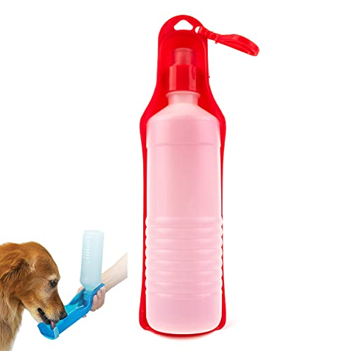 mypetsdirect.co.uk Botella de agua de viaje para mascotas, botella portátil, dispensador de comedero para perros, se suministra con clip para cinturón de 450 ml, color rojo