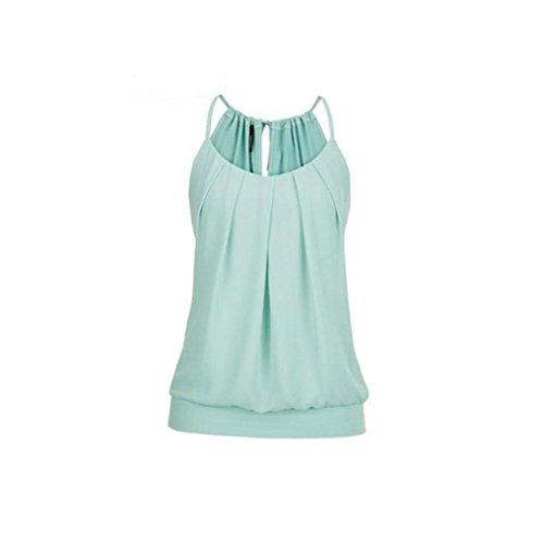 VEMOW Elegante Damen Frauen Mädchen Sommer Lose Runzeln O Neck Cami Tank Tops Weste Bluse T-Shirt Pullover T-stücke Pulli(Grün, 44 DE / 3XL CN)