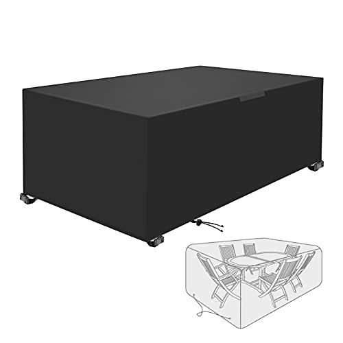 Abdeckung für Gartenmöbel, rechteckig/quadratische Terrassentisch, wasserdicht, UV-beständig, reißfest, 420D Oxford Outdoor/Rattan, Terrassenmöbelabdeckung, 180 x 120 x 74 cm