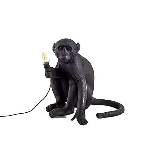 Monkey Table Light,Lámpara De Escritorio De Resina De Arte,Lámpara De Noche De Animales Decorativos Para La Cabecera,Salón,Corredor,Restaurante-Negro. 34x32cm(13x13inch)
