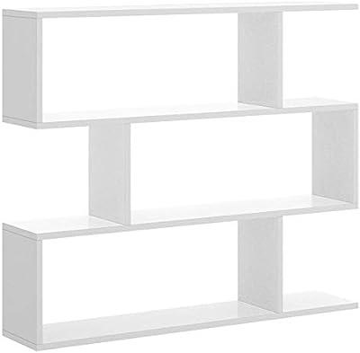 Hogar Decora Estantería Oficina Blanca con diseño Irregular Moderna 110 cm