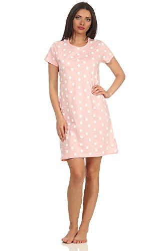 RELAX by Normann Damen Kurzarm Nachthemd in lässiger Punkte/Tupfen Optik 63328, Farbe:rosa, Größe2:40/42