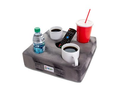 Cup Cozy Deluxe Pillow (Gray) As Seen on TV -The world's BEST cup holder! Keep your drinks close and prevent spills. Use it anywhere-Couch, floor, bed, man cave, car, RV, park, beach and more!