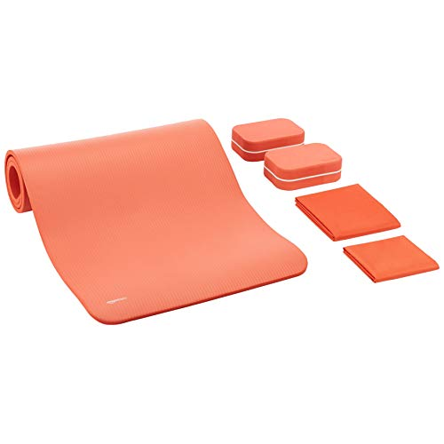 AmazonBasics 1/2-Inch Thick Yoga Mat 6 Piece Set, Coral Red
