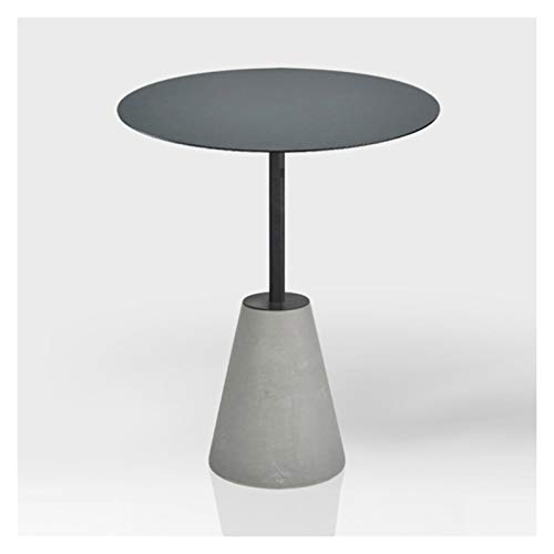 xiaokeai Sofa End Tables Modern Accent Side End Table Industrial Style Cement Iron Sofa Side Table Living Room Balcony Small Round Table,15.7'×21.7' Coffee Table for Living Room (Color : Gray)