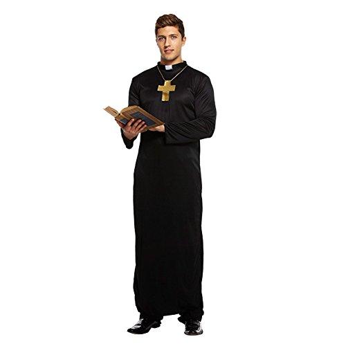 HENBRANDT Costume Déguisement De Prêtre Homme Robe Longue Et Croix (Noir)