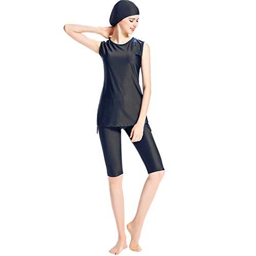 Zimuuy Damen Bademode Frauen Muslim Badeanzug Mit Kappe Konservativen Weste Beachwear Mode Zweiteiler Schwimmanzug (XXXL, Schwarz)