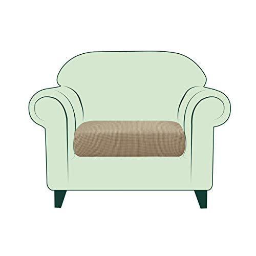 CHUN YI Stretch Sofa Seat Cushion Cover, Fitted Sofa Couch Cushion Covers Furniture Protector, Checks Jacquard Spandex Fabric (Chair, Hazel Wood)