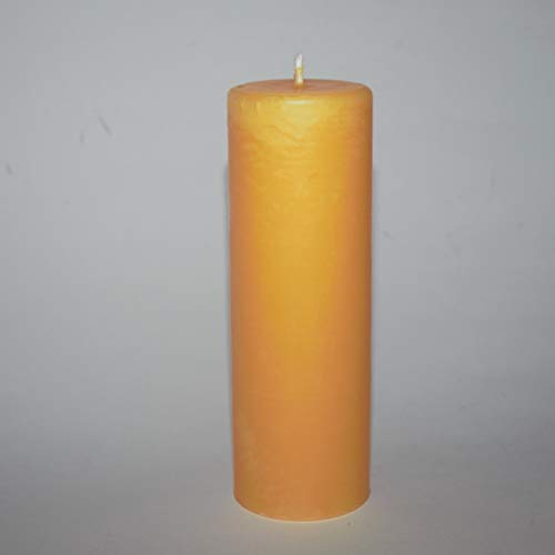 Organic Beeswax Pillar Candle – 40hr Burning time – Handmade in Wales
