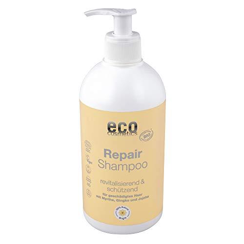 eco cosmetics Repair Shampoo für trockenes & brüchiges Haar, Vorteilsgröße mit Pumpspender, Glänzendes Haar durch Bio Ginkgo, Jojoba & Bio-Myrte, Vegan, 1x 500ml