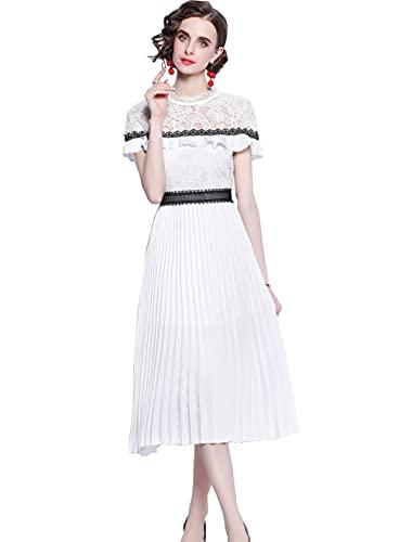 HAOKEKE Damska letnia biała koronkowa sukienka na imprezę ceremonię damska plisowana sukienka maxi koronkowa