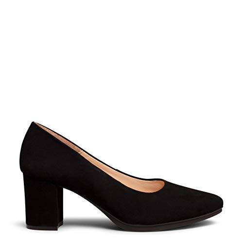 Urban S Zapato de Ante de tacón Medio Negro