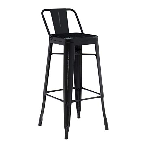 SKLUM Taburete Alto con Respaldo LIX Vintage Acero Brillante Negro - (Elige Color)