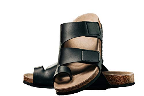 ArthritisHope Wide Zendalias with Bunion Support #11 for Bunions, Toe Corrector Sandals for Women, Bunion Corrector Sandals, Bunion Shoes, PU Leather, Black (Numeric_11)