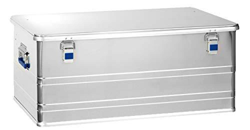 hünersdorff Aluminium-Box Profi 140 Liter, wasserdicht mit Gummi-Dichtung, leicht, stabil, Klapphandgriffe, Vorbereitung für Schlösser, Farbe: silber, 452450