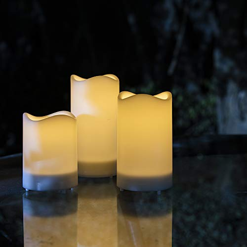 ZHONGXIN Solar Candles Outdoor Waterproof Flickering Flameless Candles Rechargeable Warm White LED Candles Lights, Great for Garden, Yard, Pathway, Balcony, Wedding, Party, Holidays, Home Décor-3Pack