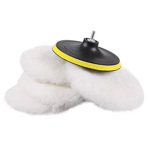 Lana para Pulir, SPTA (diámetro 180 mm) Kit de almohadillas de pulido lana de cordero adhesivo Juego de almohadillas de pulido Funda pulidora de lana autoadherente para coche Máquina Pulidora Limpieza